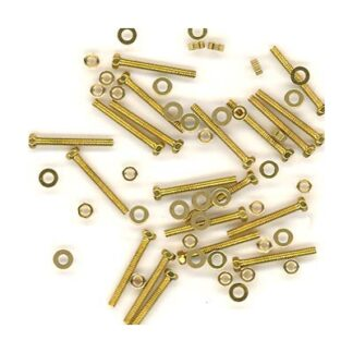 Miniature hex head bolts, nuts, and washer set - brass