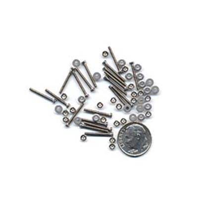 Miniature screws, nuts, and washer set - stainless steel