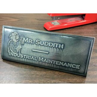 Example : Metal, custom etched nameplate by Christine Cox