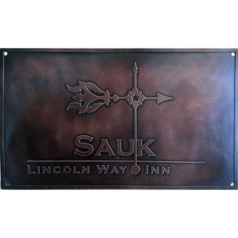 Example : Metal, custom etched door sign by Christine Cox