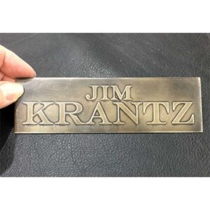 Example : Small, metal, custom etched door sign by Christine Cox